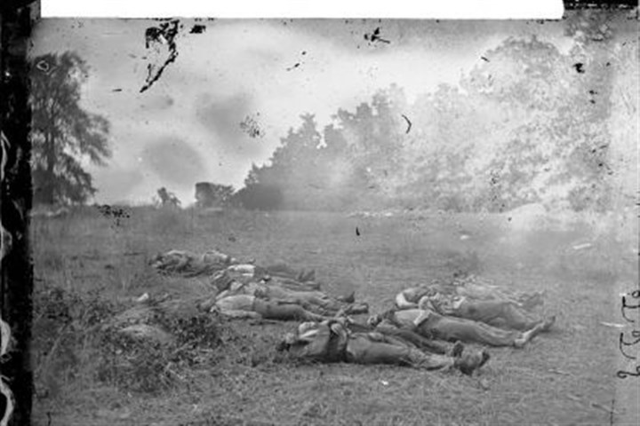 Confederate dead at Rose Woods July 5, 1863 -- Confederate dead at Rose Woods in Gettysburg. Over three days of battle, there were more than 50,000 Union and Confederate casualties. (Photograph attributed to Alexander Gardner)