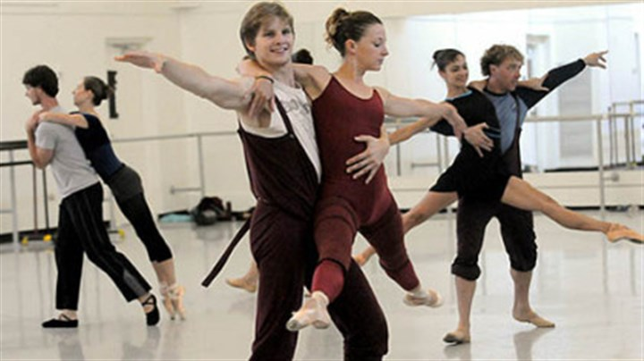 "Coppula and Kochis Nicholas Coppula with Alexandra Kochis, center, rehearse ""Step Touch"" for Pittsburgh Ballet Theatre's upcoming tour in Israel."