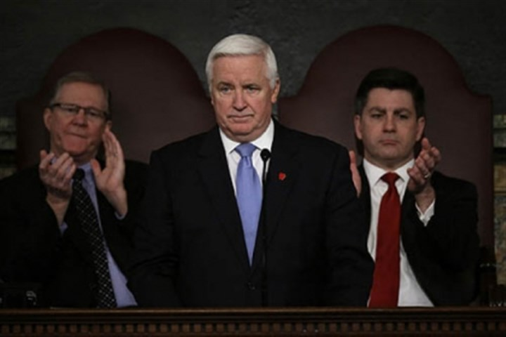 corbett gives budget address Gov. Tom Corbett delivers his budget proposal today in Harrisburg. Also pictured: Rep. Sam Smith, R-Jefferson (l), and Lt. Gov. Jim Cawley.
