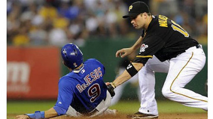 David DeJesus and Neil Walker Cubs' David DeJesus gets into second base safely as Pirates' Neil Walker applies the tag in the seventh inning at PNC Park Tuesday night.