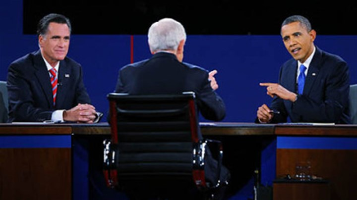 Debate with schieffer President Barack Obama debates with Republican presidential candidate Mitt Romney as moderator Bob Schieffer looks on.