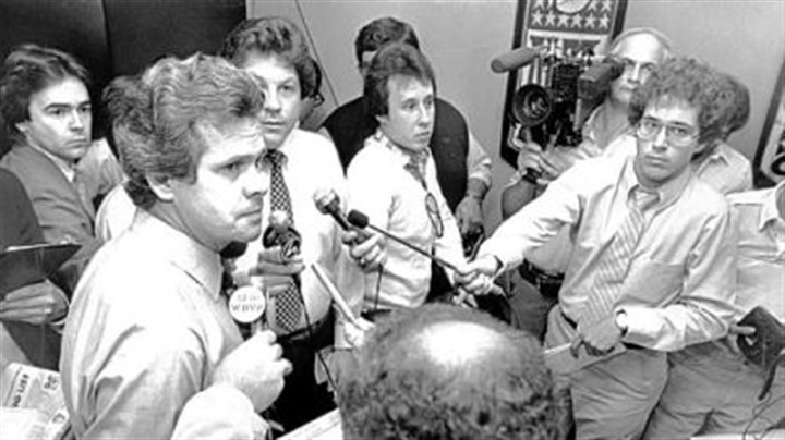 Dick Haley Father Dick Haley, then team director of player personnel, talks to the news media about the team's top draft choice, in 1982, Walter Abercrombie.