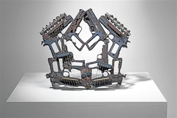 """Disarm"" Mexican artist Pedro Reyes makes sculptural instruments like ""Disarm"" out of decommissioned weapons."