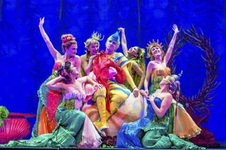 "'Disney's The LIttle Mermaid' Christian Probst as Flounder, center, with the ensemble of ""Disney's The Little Mermaid"" for Pittsburgh CLO, which includes Morgan Kirner, left, who is also the understudy to Jessica Grove, who plays Ariel."