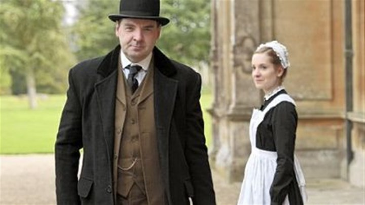 "'Downton Abbey' The British TV home of ""Downton Abbey,"" with Brendan Coyle as John Bates and Joanne Froggatt as Anna Smith, has renewed the popular series for a fourth season. It will continue to air on PBS's ""Masterpiece"" in early 2014 following season three on PBS, which begins Jan. 6."
