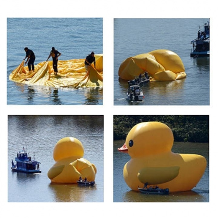 ducky prep time lapse new A crew prepares Dutch artist Florentijn Hofman's 40-foot inflatable rubber duck on the Ohio River near the McKees Rocks Bridge on Friday. The duck is headed Downtown this evening.