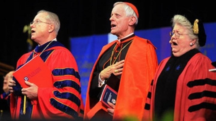 Duquesne Duquesne University President Charles J. Dougherty, left, Cardinal Donald Wuerl, Archbishop of Washington D.C., center, the commencement speaker, and Margaret V. McIntosh, PhD., who will receive an honorary degree at Duquesne University Commencement at A.J. Palumbo Center.
