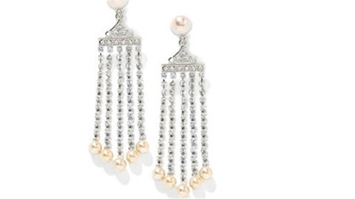 Earrings inspired by Marilyn From HSN's Jewelry of Legends Collection, inspired by Marilyn Monroe, crystal cascade earrings ($59.95).