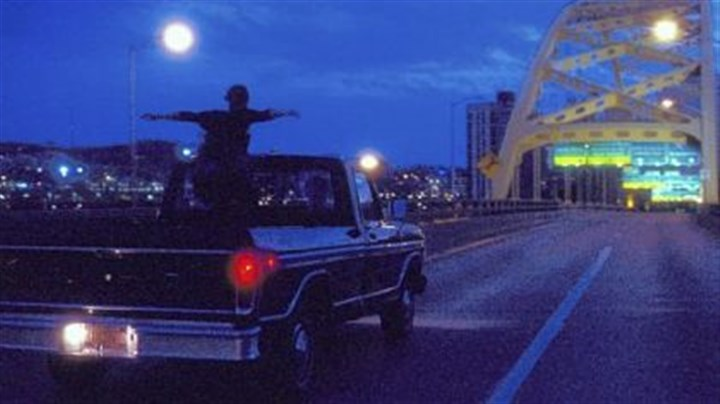 "Emma Watson fort pitt bridge Emma Watson crosses the Fort Pitt Bridge in ""The Perks of Being a Wallflower."""