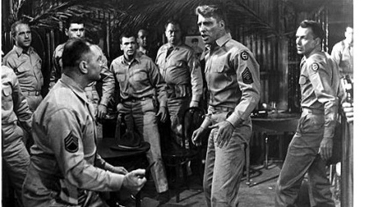 "Ernest Borgnine, Burt Lancaster and Frank Sinatra Ernest Borgnine, Burt Lancaster and Frank Sinatra star in ""From Here to Eternity."""