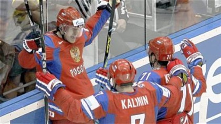 Evgeni Malkin Evgeni Malkin, added to Russia's roster after the Penguins were eliminated, celebrates after scoring in the quarterfinals of the World Champion-ships in Germany this week.