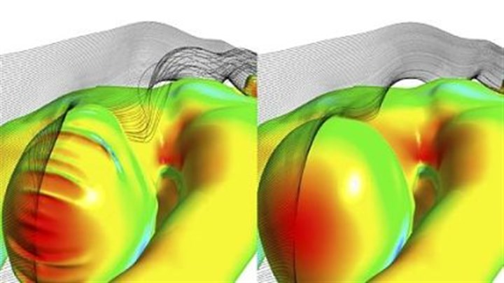 Fastskin3 Cap An Ansys simulation of the forces experienced when diving. At left is an older version of the female swim cap. The Fastskin3 Cap, right, with hair management system, shapes hair for significantly improved hydrodynamics. Ansys used similar simulations to help Speedo design optimal racing swimsuits.