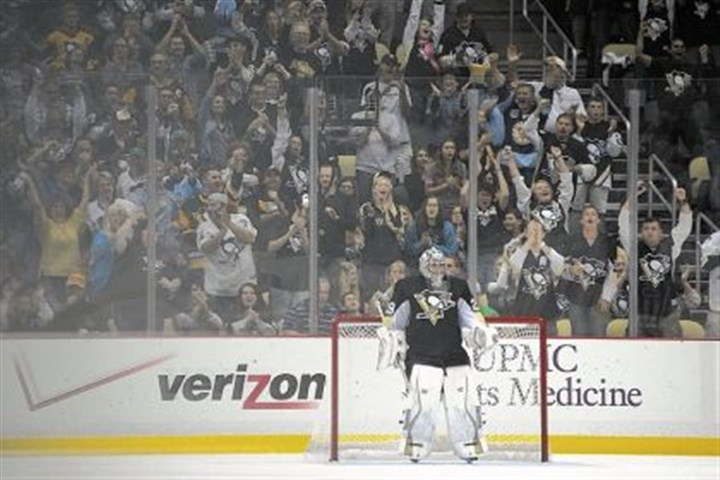 fleury Marc-Andre Fleury gets an ovation from the Consol Energy Center crowd during a game against New Jersey.