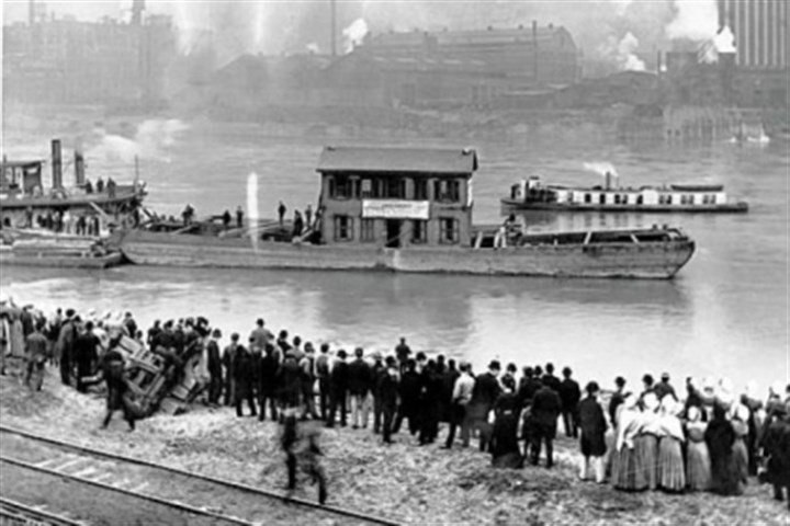 float 1904: The little house where H.J. Heinz founded his company is floated down the Allegheny River from its original location in Sharpsburg to Pittsburgh.