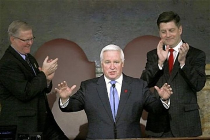 Gov. Tom Corbett tax plan Gov. Tom Corbett, with House Speaker Sam Smith, R-Jefferson, at left, and Lt. Gov. Jim Cawley, right, behind him, arrives Tuesday to deliver his budget proposal for the new fiscal year to a joint session of the Pennsylvania General Assembly.