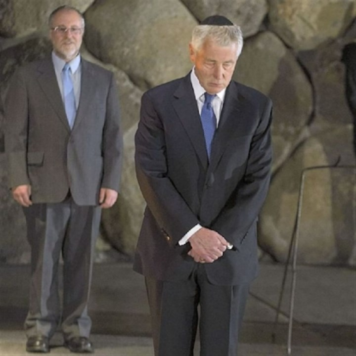 Hagel U.S. Defense Secretary Chuck Hagel stands in silence Sunday after placing a wreath at the Hall of Remembrance in Jerusalem.