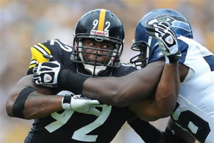 Harrison James Harrison, left, playing against the Seahawks in 2011.