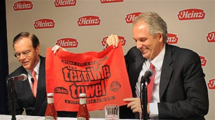 heinz terrible towel At a press conference today, Alex Behring, right, managing partner at 3G Capital was presented with a Heinz red Terrible Towel by William R. Johnson, chairman, president and CEO of Heinz.
