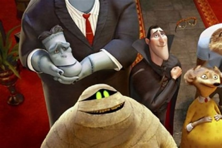 "'Hotel Transylvania' Clockwise from left: Frank (voice of Kevin James), Dracula (Adam Sandler), Griffin The Invisible Man (David Spade), Wayne (Steve Buccemi), Wanda (Molly Shannon) and Murray the Mummy (Cee-Lo Green) in ""Hotel Transylvania."""
