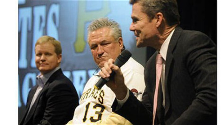 huntington Pirates general manager Neal Huntington, manger Clint Hurdle and president Frank Coonelly answer questions from season ticket-holders Friday at PirateFest.
