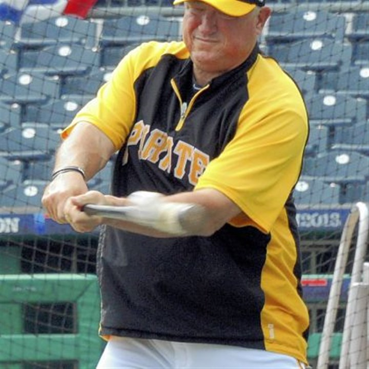hurdle Pirates manager Clint Hurdle hits the ball at batting practice Saturday.