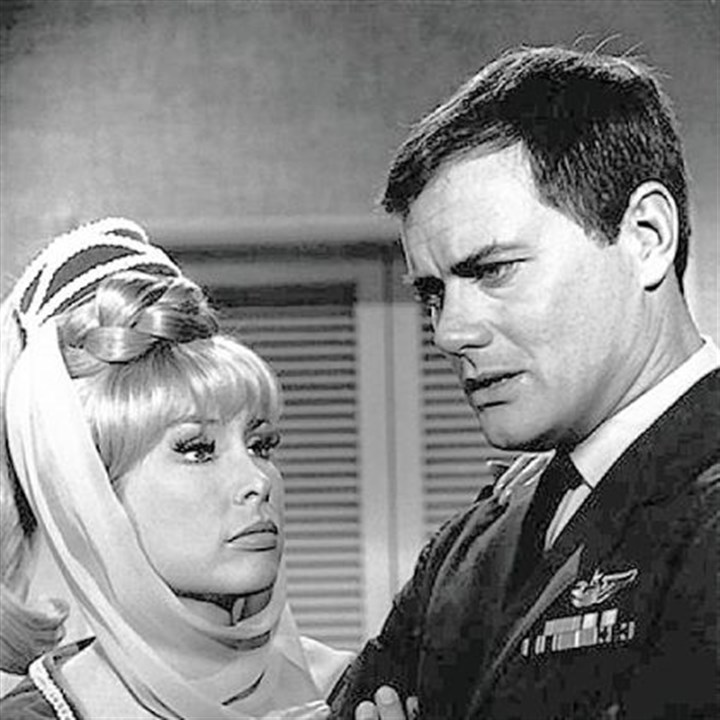 "'I Dream of Jeannie' Larry Hagman is shown with his ""I Dream of Jeannie"" co-star Barbara Eden in 1967."