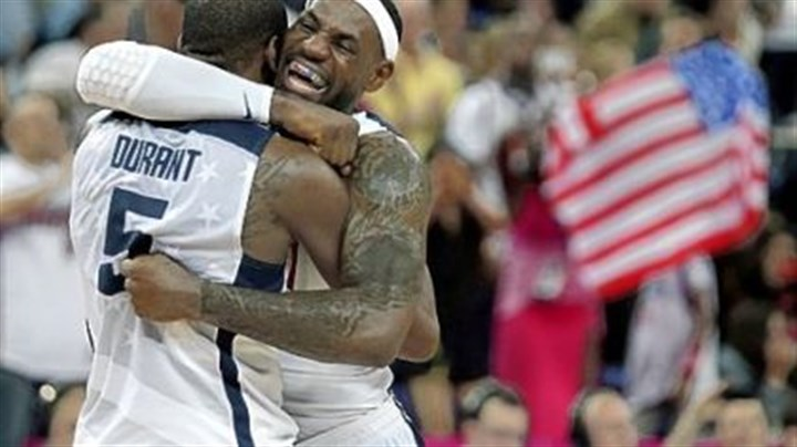 james LeBron James and Kevin Durant celebrate after defeating Spain Sunday for the gold medal in London.