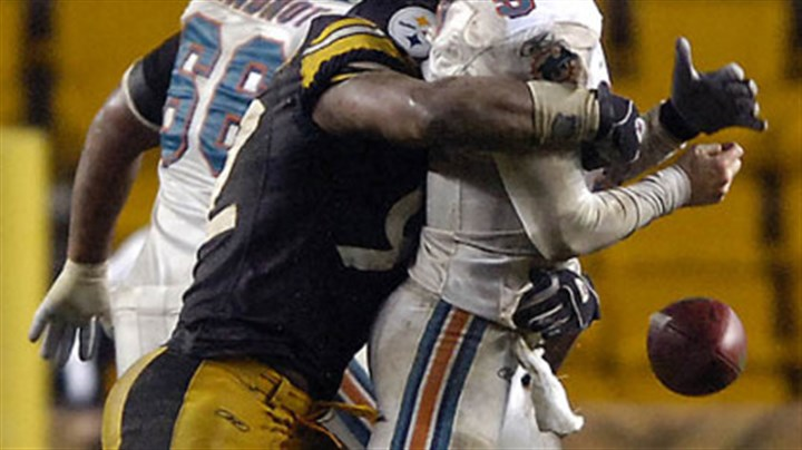 James Harrison Outside linebacker James Harrison causes Dolphins' quarterback John Beck to fumble in the 4th quarter. (vs. Dolphins 11/26/07)