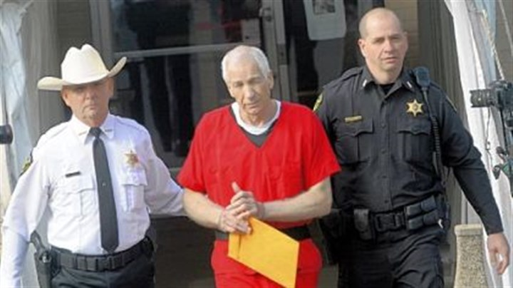 Jerry Sandusky Jerry Sandusky in escorted from the Centre County Courthouse in October after his sentencing on 45 counts of child sex abuse.