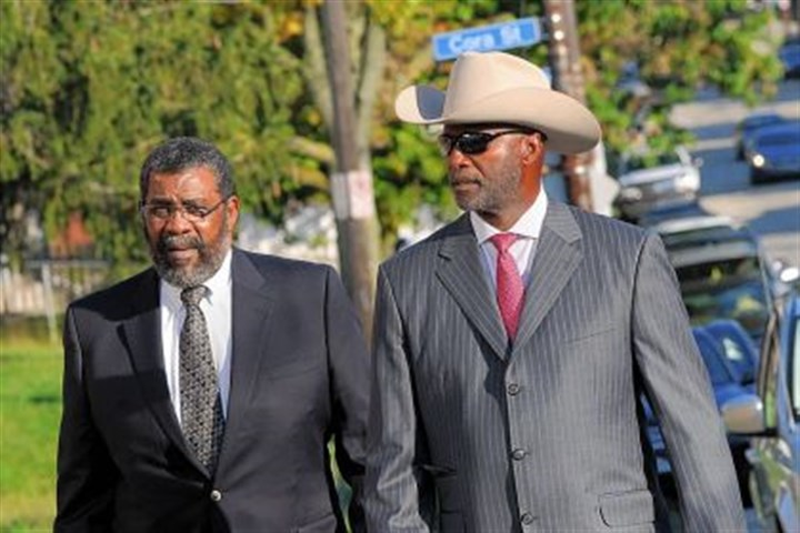 Joe Greene and mel blount Joe Greene and Mel Blount on their way to the visitation for L.C. Greenwood at Bethany Baptist Church in Homewood.