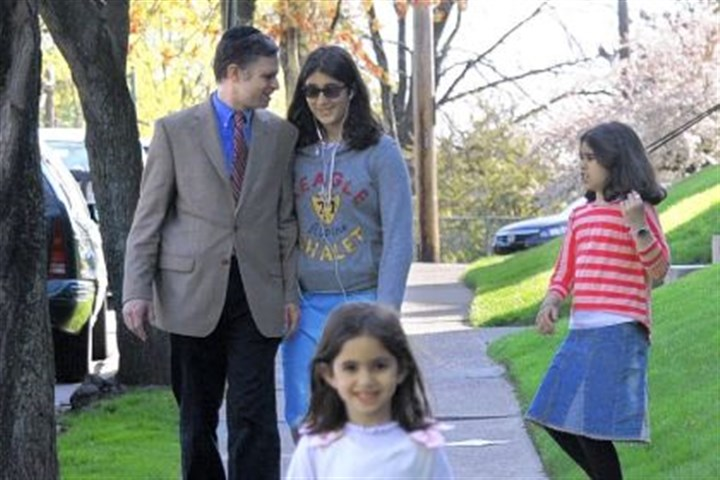 Josh Wander and family Republican mayoral candidate Josh Wander jokes with his 13-year-old daughter Channa while he and his other daughters, Tamar, 9, right, and Sara, 5, walk home from a park near their Squirrel Hill home.