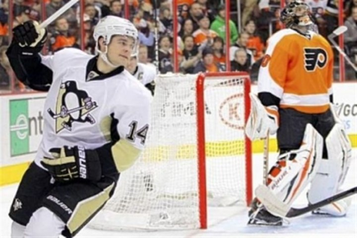 Kunitz Chris Kunitz reacts after scoring against Philadelphia Flyers goalie Ilya Bryzgalov in the first period of the Penguins' 5-4 win Thursday, March 7.
