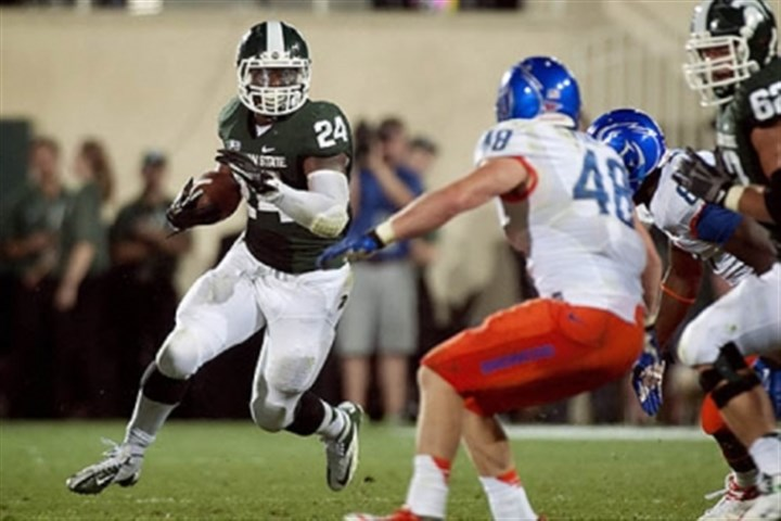 Le'Veon Bell Michigan State's Le'Veon Bell plays against Boise State last season.