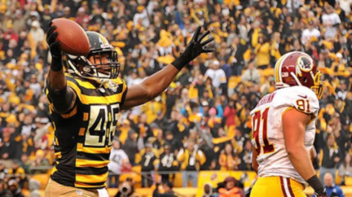 Leonard Pope The Steelers' Leonard Pope celebrates his touchdown in the first quarter.