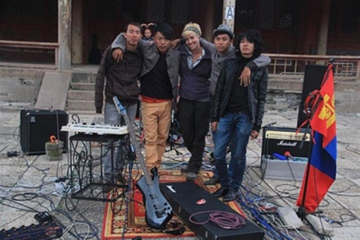 """Live from UB"" Director Lauren Knapp with the band Mohanik after a long day of recording their album at a 300-year-old monastery."