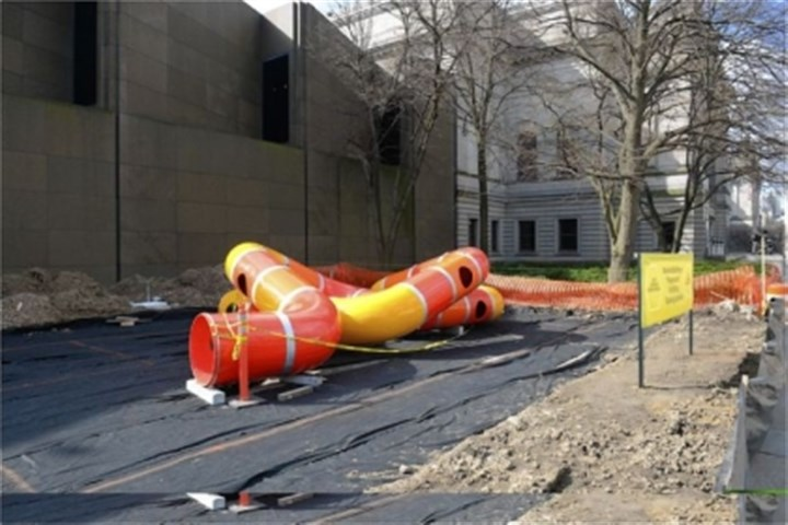 """lozziwurm"" Also as part of the International, Carnegie Museum of Art is installing a ""lozziwurm"" on Forbes Avenue. The tubular play structure, designed by artist Yvan Pestalozzi will be available for free play during museum hours starting April 27."