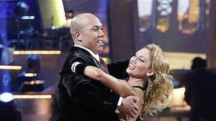 Making their move Hines Ward and Kym Johnson making their move in the competition.
