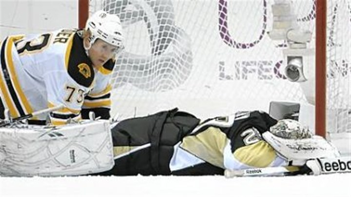 Marc-Andre Fleury Marc-Andre Fleury lies face down after the Bruins scored what proved to be the winning goal late in the third period Monday night at Consol Energy Center. The Penguins took a 2-0 lead into the final 20 minutes.