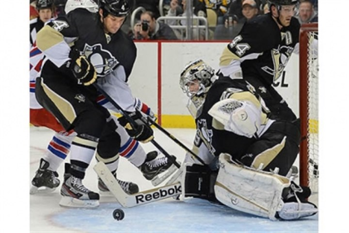 Marc-Andre Fleury Penguins goalie Marc-Andre Fleury makes save against the Rangers in the second period.