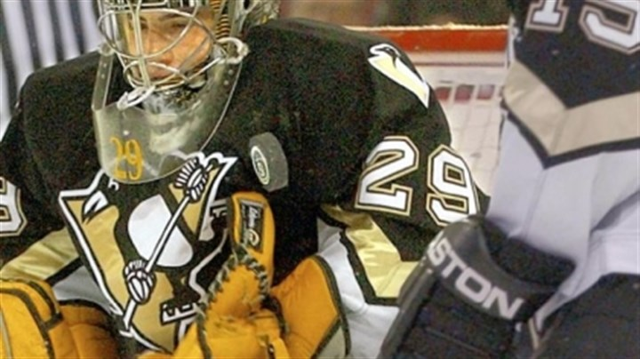 Marc-Andre Fleury The Penguins gave Marc-Andre Fleury a long look at NHL competition in the 2003-04 season, then sent him back to his junior team.