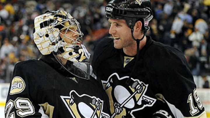 Marc-Andre Fleury and Ryan Whitney Marc-Andre Fleury, left, is congratulated by Ryan Whitney after Fleury shut out the Rangers, 1-0, last night at Mellon Arena.