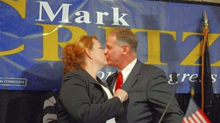 Mark Critz Rep. Mark Critz kisses his wife, Nancy, Tuesday after conceding his re-election bid to challenger Keith Rothfus at the Holiday Inn in Johnstown.