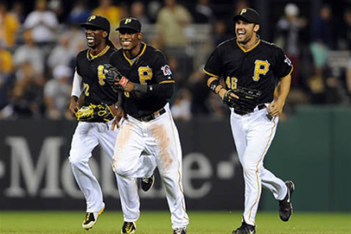 marte cutch and jones Pirates' Andrew McCutchen, Starling Marte and Garrett Jones come off the field after defeating the Brewers at PNC Park Friday night.