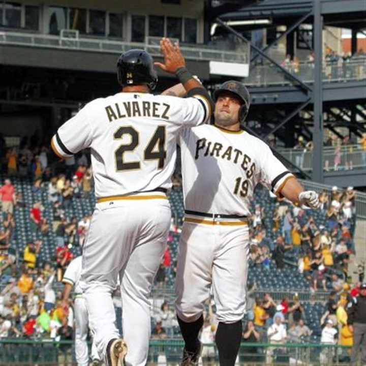mckenry Michael McKenry gets a high-five from Pedro Alvarez after McKenry's two-run home run in the eighth inning April 14.