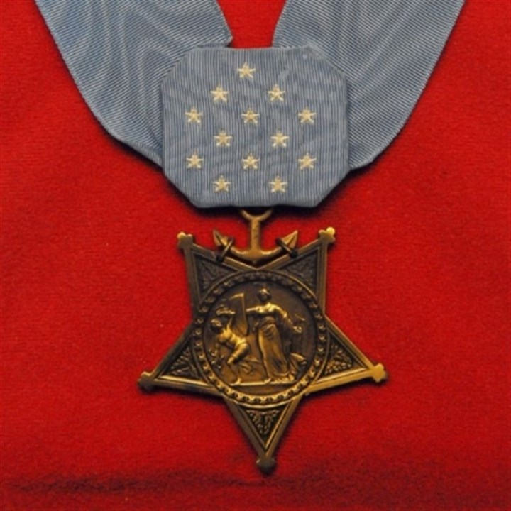 Medal of Honor The Medal of Honor presented to the family of Lance Cpl. William Prom by former Vice President Spiro Agnew in April 1970.