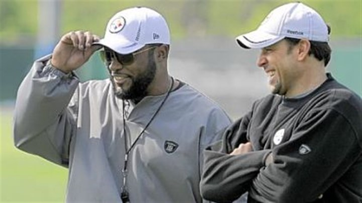 Mike Tomlin and Todd Haley Arguably none of the newcomers will have a greater impact on the season than new offensive coordinator Todd Haley, far right.