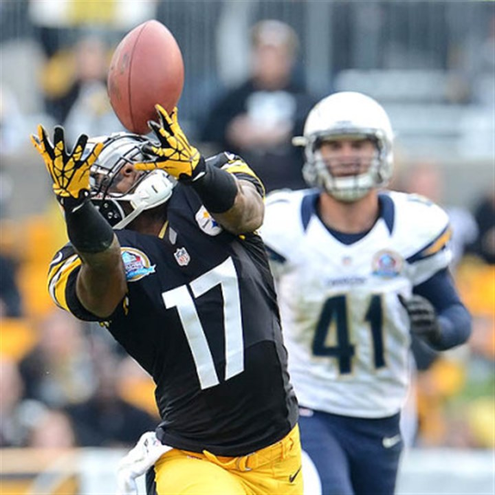 Mike Wallace Ben Roethlisberger's pass is just out of the reach of receiver Mike Wallace.