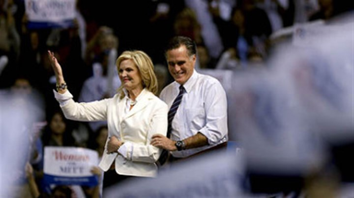 Mitt and Ann Romney Republican presidential candidate, former Massachusetts Gov. Mitt Romney takes the stage with wife Ann before speaking at a campaign event at the Verizon Wireless Arena, in Manchester, N.H.