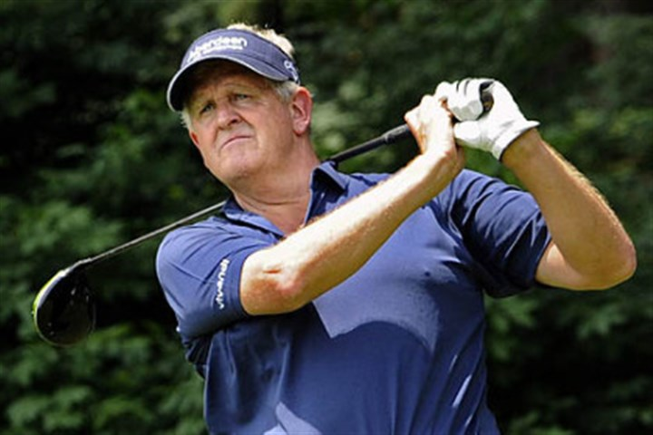 montgomerie Colin Montgomerie clips the fairway on the 10th hole while hitting at the Accenture Pro-Am Wednesday afternoon.