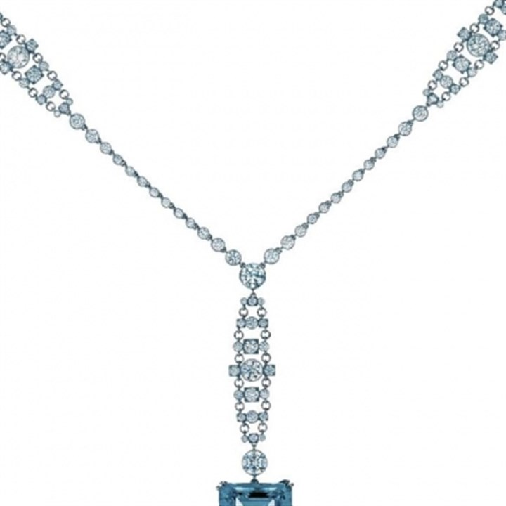 Necklace Emerald-cut aquamarine, diamonds and platinum necklace from Tiffany & Co., $200,000.